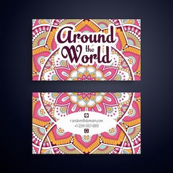 Ethnische Blumenrosa Visitenkarte für Damen