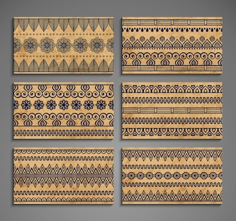 Ethnische Karten mit Ornamenten
