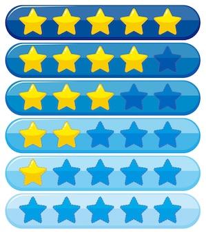 Etikettenentwurf mit gelben und blauen Sternen