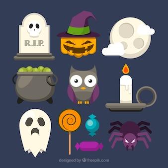 Eulen-Sammlung mit anderen Halloween-Elementen
