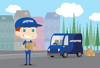 Express Mann und sein LKW
