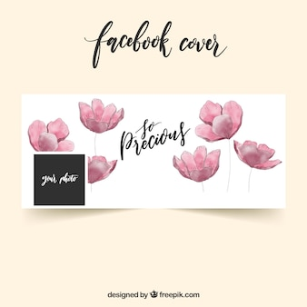 Facebook Cover mit Aquarell Blumen