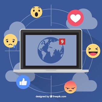 Facebook Hintergrund mit Computern und Emoticons