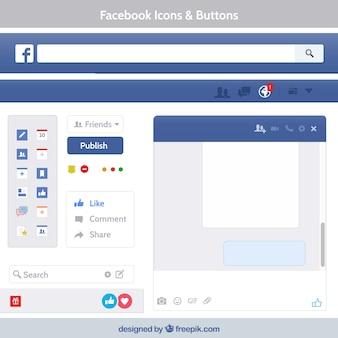 Facebook-Symbole und Schaltflächen
