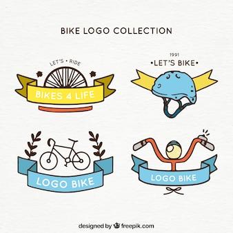 Fahrrad-Logos mit handgezeichneten Stil