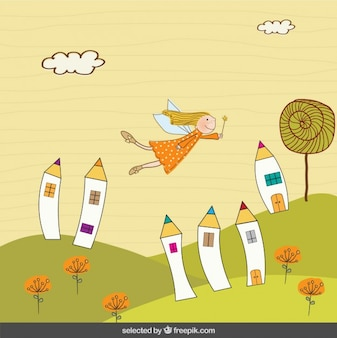Fairy fliegen in Fantasielandschaft