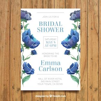 Fantastische bachelorette Einladung mit Aquarellblumen