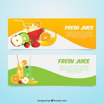 Fantastische Banner mit realistischen Früchten