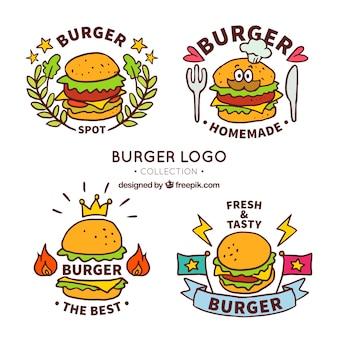 Fantastische Packung von handgezeichneten Burger Logos
