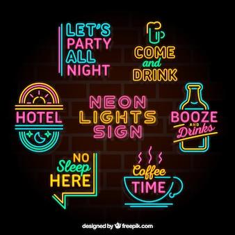 Fantastische Sammlung von bunten Neonlicht Plakate