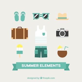 Fantastische Sommerelemente in flachem Design