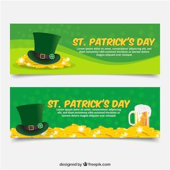 Fantastische St Patrick Tag Banner mit grünem Hut und goldenen Münzen