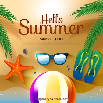 Fantastischer Hintergrund mit realistischen Sommerobjekten