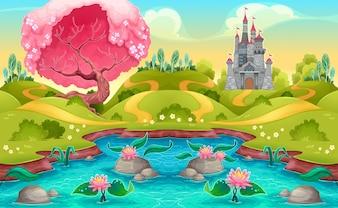Fantasy-Landschaft mit Schloss in der Landschaft Vector Cartoon Illustration