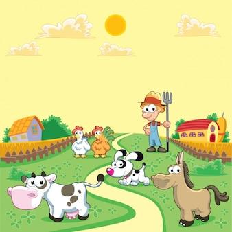 Farbige Bauernhof Hintergrund