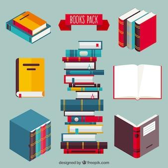 Farbige Bücher packen