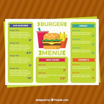 Farbige Burger-Menüvorlage