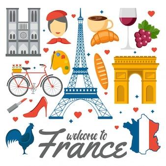 Farbige Frankreich Elemente