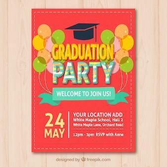 Farbige Graduierung Party Broschüre mit dekorativen Ballons