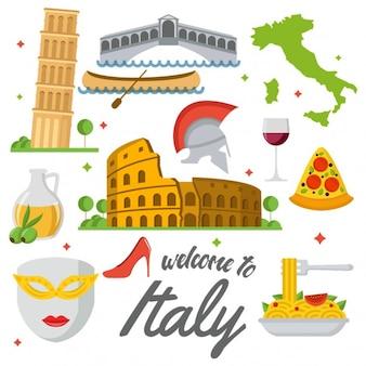 Farbige Italien Elemente