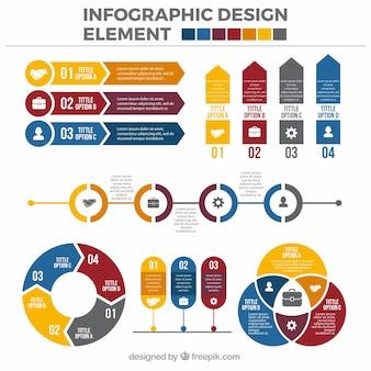 Farbige Packung von flachen Informationsgrafik Elemente
