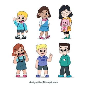 Farbige Packung von niedlichen Kinder