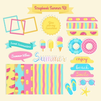 Farbige Scrapbook Sommer-Kit