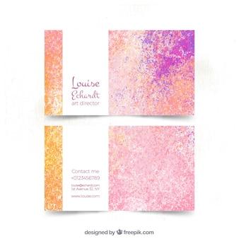 Farbige Visitenkarte im Aquarellstil