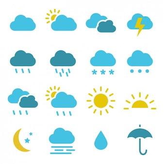Farbige Wetter-Ikonen-Sammlung