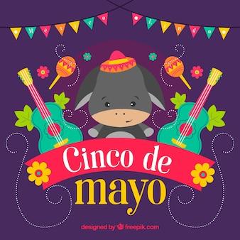 Farbiger Hintergrund mit Esel und Gitarren für cinco de mayo