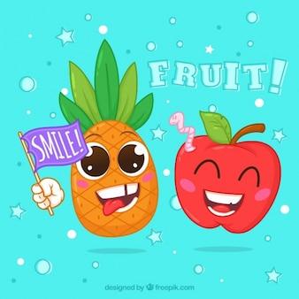 Farbiger Hintergrund mit fröhlichen Früchten