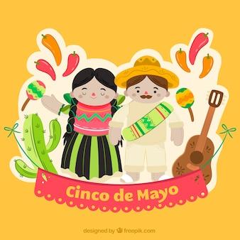 Farbiger Hintergrund mit lächelnden Menschen und mexikanischen Elementen