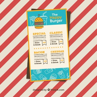 Fast-Food-Menü mit verschiedenen Burger