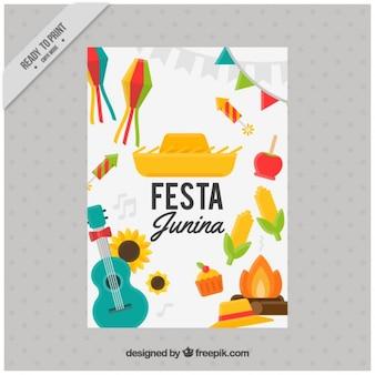 Festa junina Flyer mit Elementen