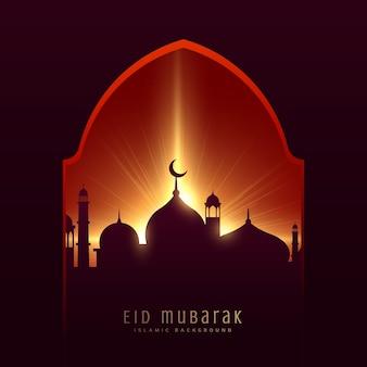 Festival gruß für muslim eid mubarak mit moschee und strahlen hintergrund