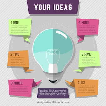 Flach Glühbirne Infografik Schritte