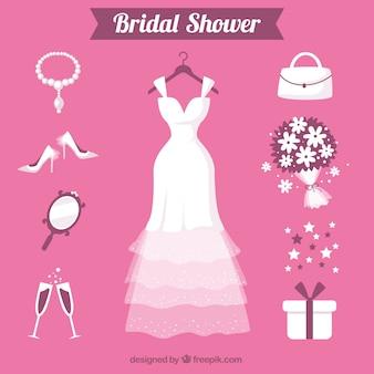 Flache Auswahl von weiblichen Accessoires für die Hochzeit