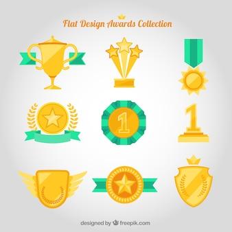 Flache Design-Auszeichnungen Sammlung mit grünen Details