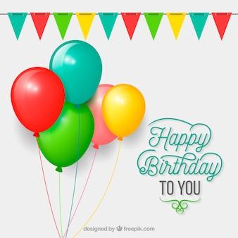 Flache Design Geburtstag Ballons Hintergrund
