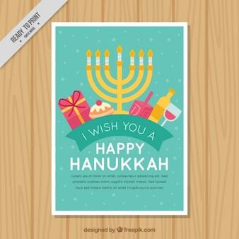 Flache Grußkarte bereit für Hanukkah