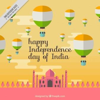 Flache Hintergrund für Tag der Unabhängigkeit von Indien
