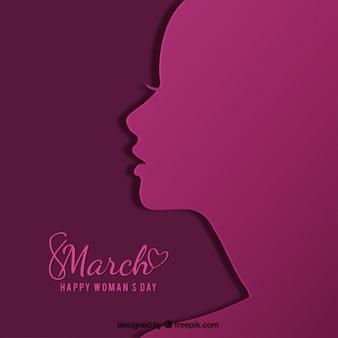 Flache Hintergrund mit Silhouette für Tag der Frau