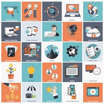 Flache Icon-Set für Unternehmen