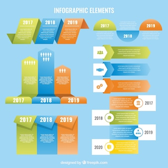 Flache infografische Elemente