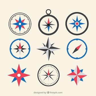 Flache Karte Kompass Sammlung