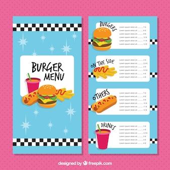 Flache Menüvorlage mit Fast Food