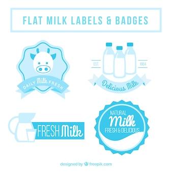 Flache Milch Abzeichen in Blautönen