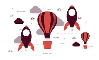 Flache Raketen und Heißluftballons für Business Start Up.