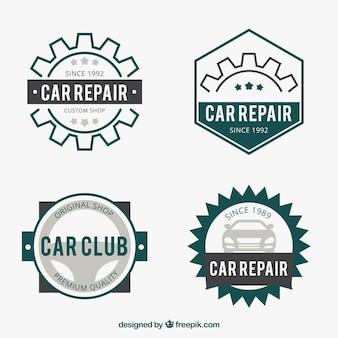 Flache Reihe von Logos für Autobetriebe