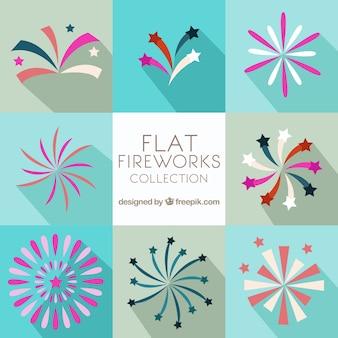 Flache runde Feuerwerk Sammlung